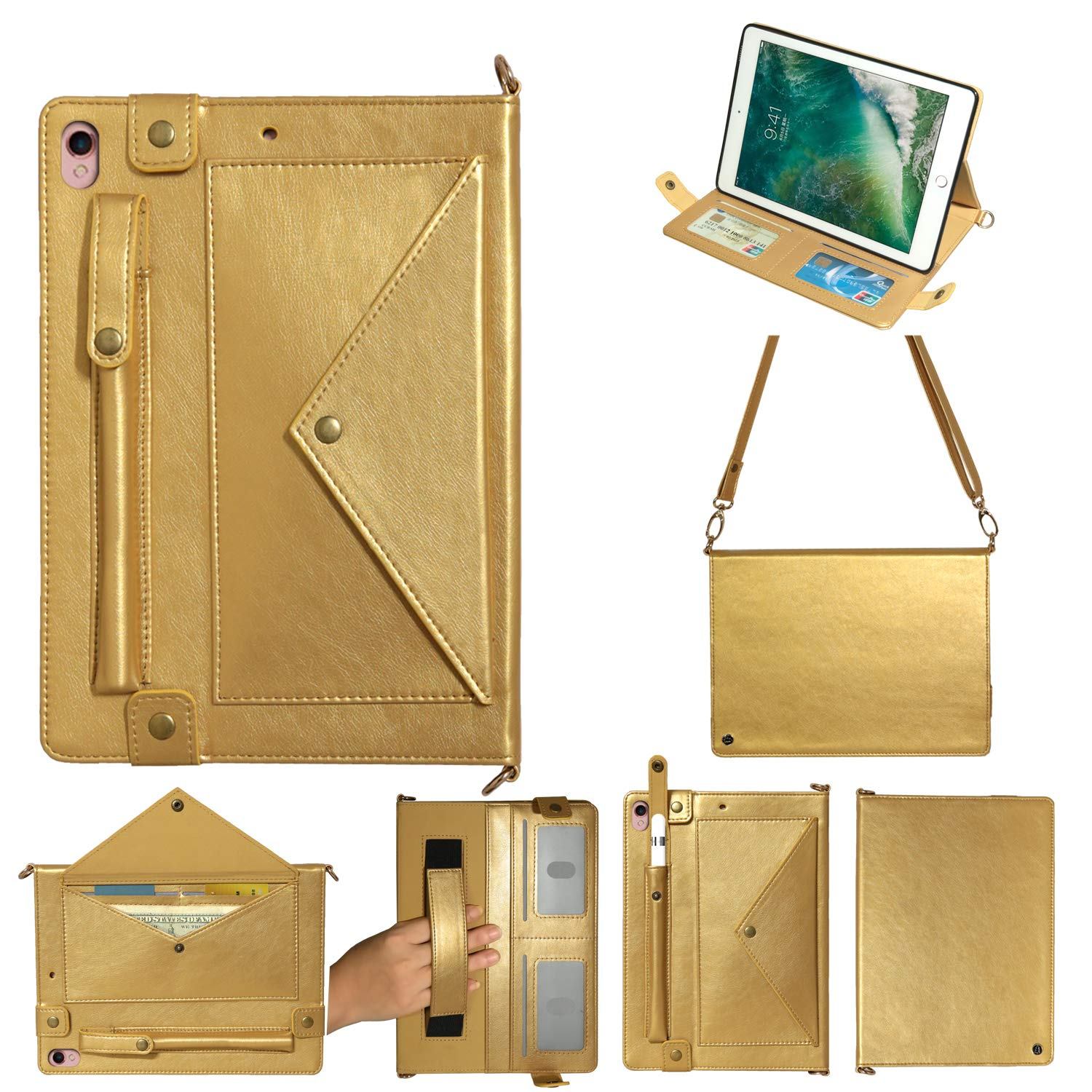 MeiLiio for iPad Pro 10.5' Case Wallet File Folio Pocket PU Leather Hangbag Shell with Hand Strap Protective Cover for iPad Air 3 Women&Girl (Gold) by MeiLiio