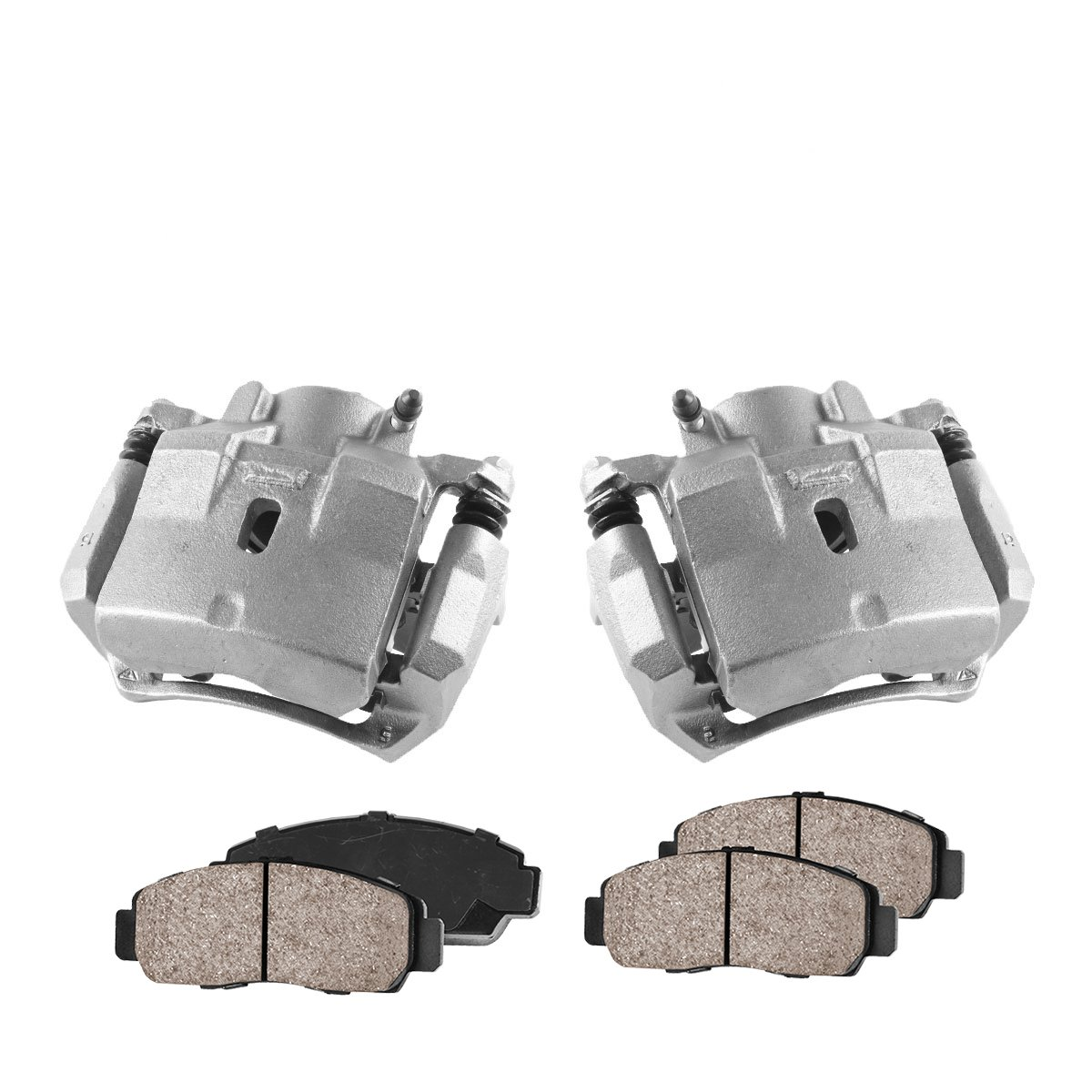 Quiet Low Dust Ceramic Brake Pads 2 FRONT Premium Loaded OE Caliper Assembly Set COEK01475
