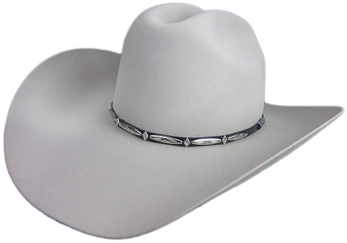 b199c289e5e Stetson Del Norte 6X Silver Grey Cowboy Hat 7 3 8 Oval 4 1 4
