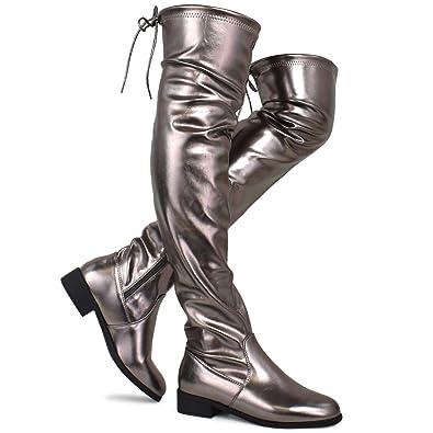 f8831928857 Premier Standard - Women s Fashion Comfy Vegan Suede Block Heel Side Zipper  Back Lace Thigh High