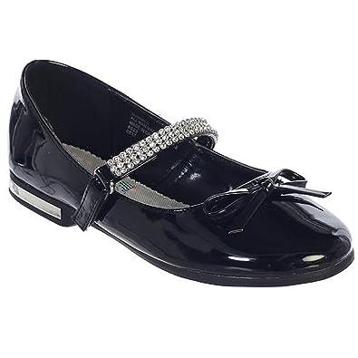 c0c430bac iGirldress Girls Flats With Rhinestones Strap Mary Jane Dress Shoes Black  Size 9