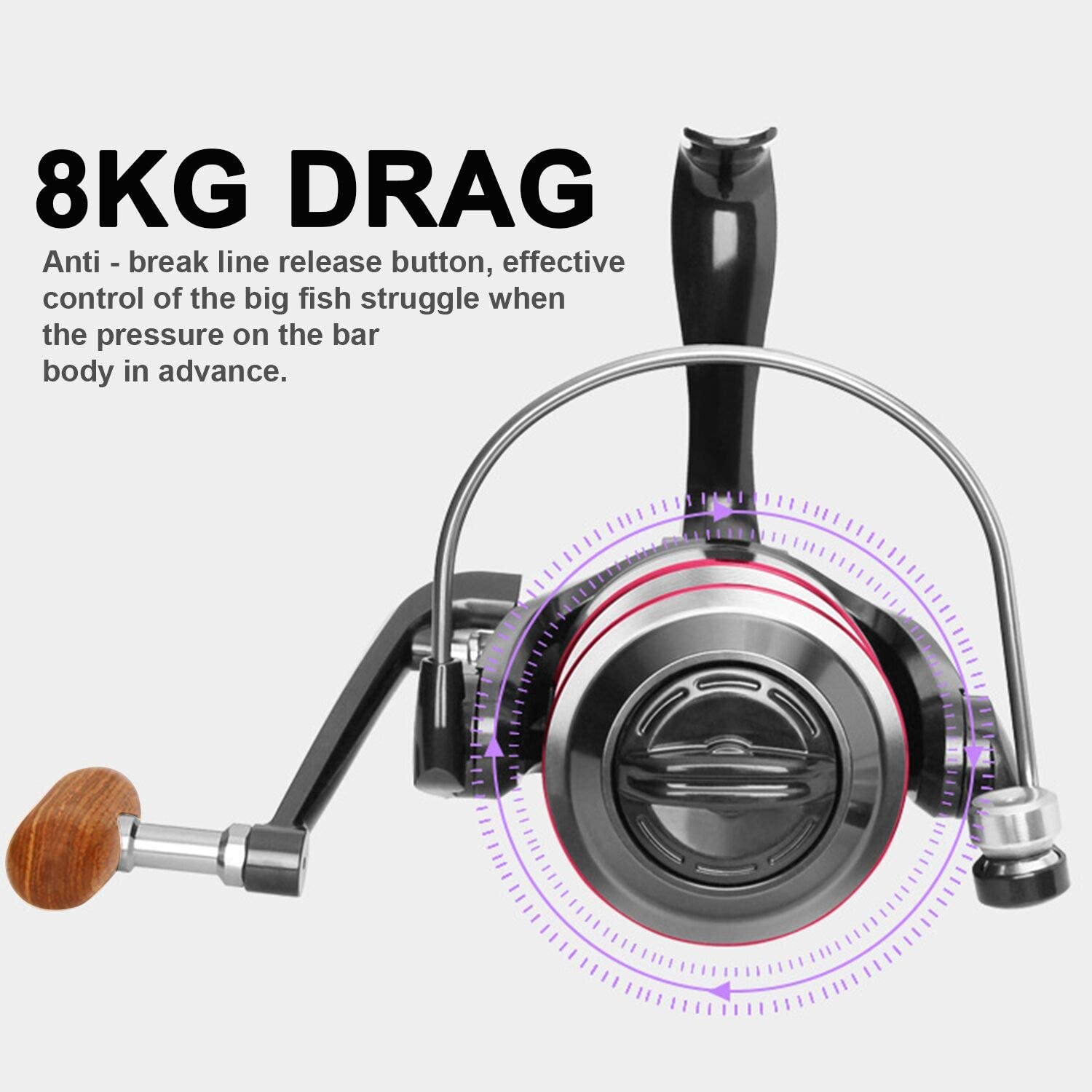 Hunters Tail Fishing Reel Spinning Fishing Reels Handle Parts Freshwater Double Bearing Light Smooth Casting 5.2:1Light Weight Ultra Smooth Powerful