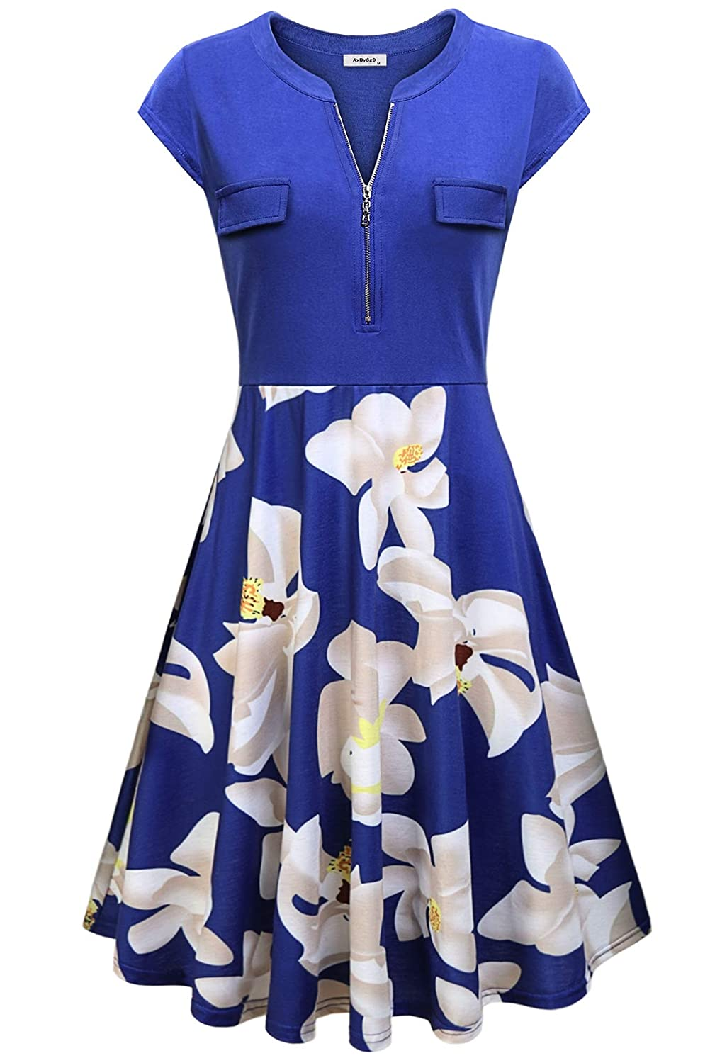 bluee Floral AxByCzD Women's Vintage V Neck Cap Sleeve Casual Patchwork A Line Dress