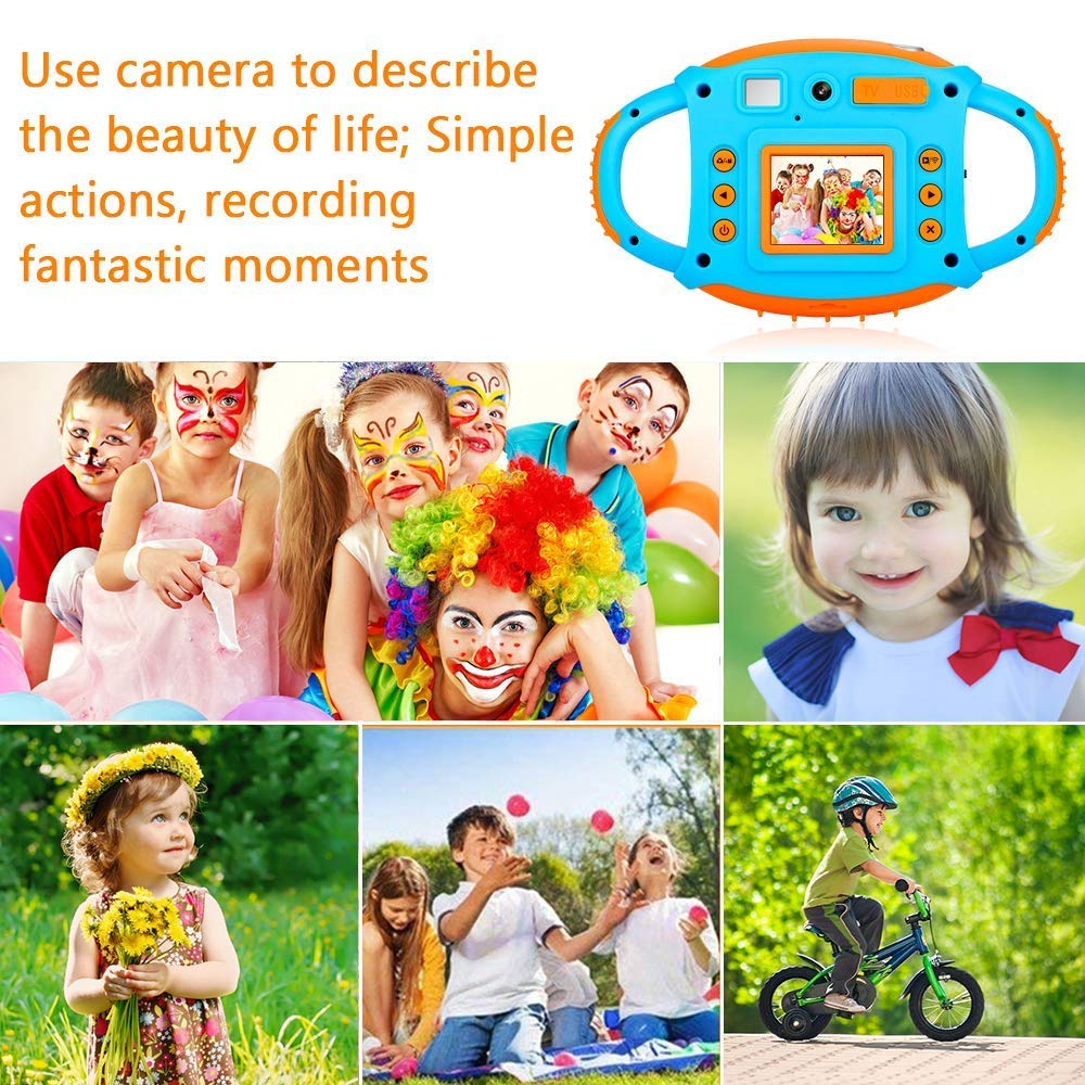 Kids Camera DIWUER Shockproof Digital Camera Children Creative Gift Mini Video Camcorder for Boys Girls with Soft Silicone Shell Mic Flash and 16GB Memory Card by DIWUER (Image #7)
