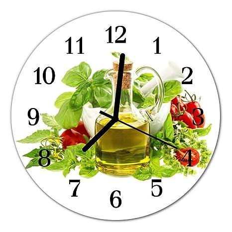Deko Cristal Reloj Aceite Albahaca Reloj Redondo de Vidrio acrílico Grandes Diseño Reloj de Pared