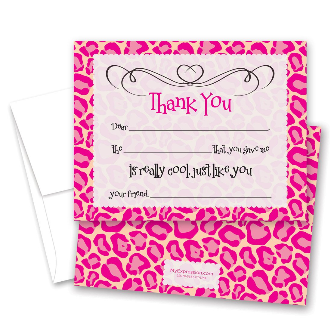MyExpression.com 20 Pink Diva Days Girl Fill-in Birthday Thank You Cards