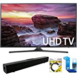 """Samsung (UN55MU6290FXZA) Flat 54.6"""" LED 4K UHD 6 Series Smart TV (2017 Model) with Solo X3 Bluetooth Home Theater Sound Bar + 6ft HDMI Cable + Universal Screen Cleaner for LED TVs"""
