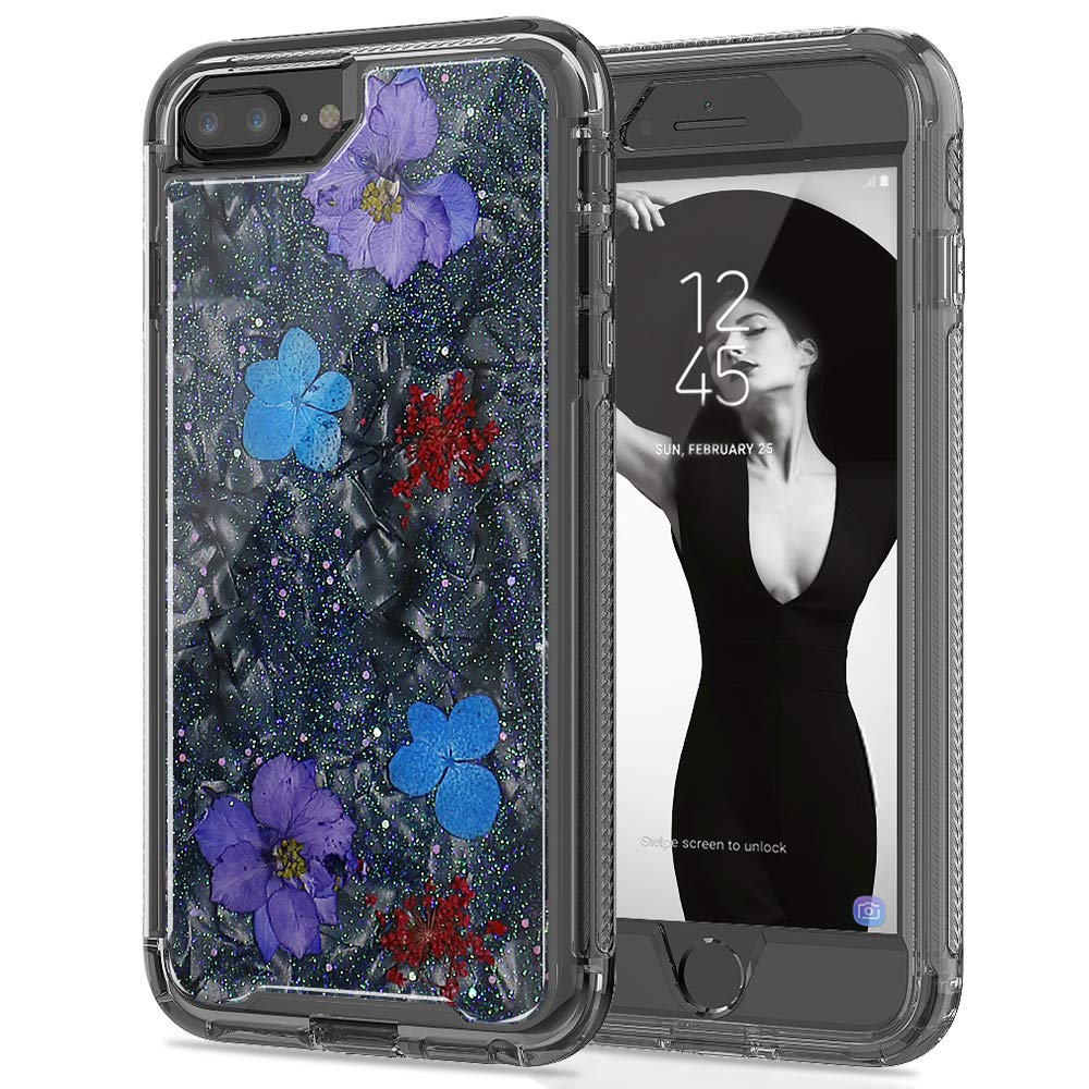 SEYMAC Stock iPhone 8 Plus/ 7 Plus/ 6 Plus Girls/Women Case, [Hybrid Drop Protection] Case with Shockproof Translucent Flexible Bumper & [Real Flower] Glitter for iPhone 6/6s/7/8 Plus 5.5'' - Black