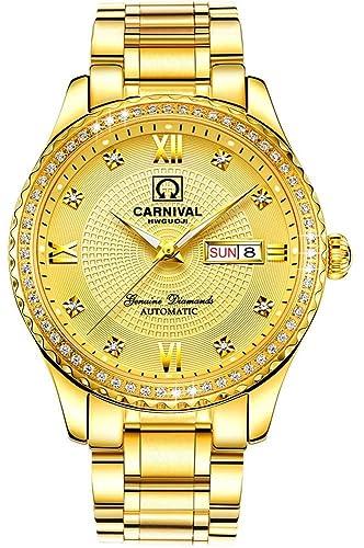 mastop para hombre relojes automático mecánico luminoso todo el oro diamante impermeable de acero inoxidable relojes: Amazon.es: Relojes