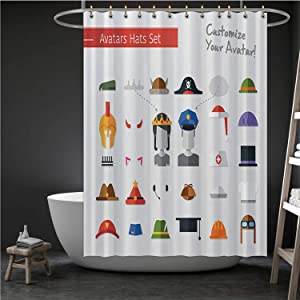 ALUONI Isolated Flat Design Hats and caps for Social Network Avatars - Illustration Pilot,Durable Waterproof Shower Curtain Set Bathroom Fabric Curtains Sherlock Holmes for Home 71''W x 71''H