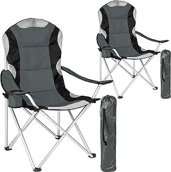 TecTake Silla de Camping Plegable + Portabebidas + Práctica Bolsa de Transporte Marco Ø: Unos 19 mm Varias cantidades - (Gris - 2 Piezas | 401296): Amazon.es: Deportes y aire libre