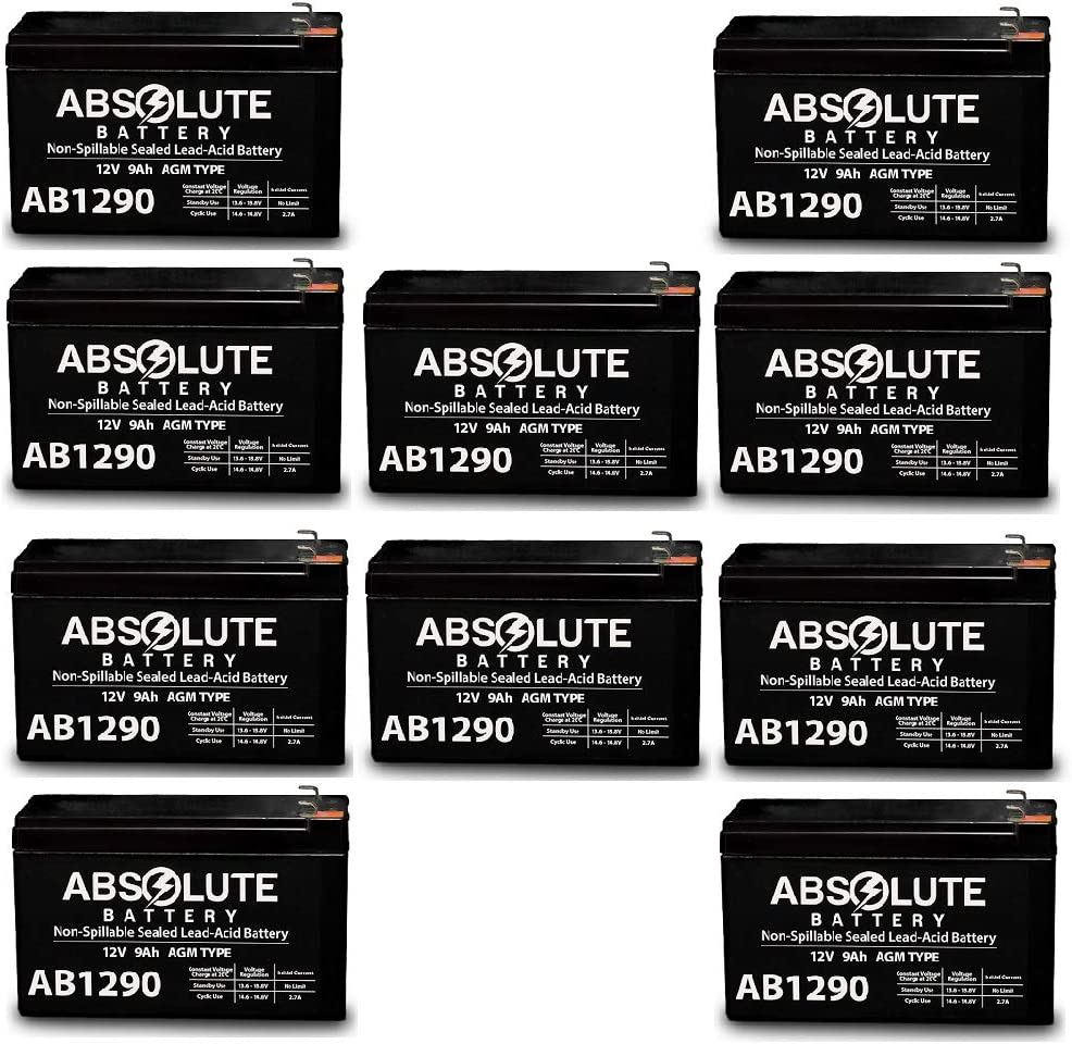 10 Pack AB1290 12V 9AH SLA Battery Replacement for APC Smart UPS SU3000RMUS