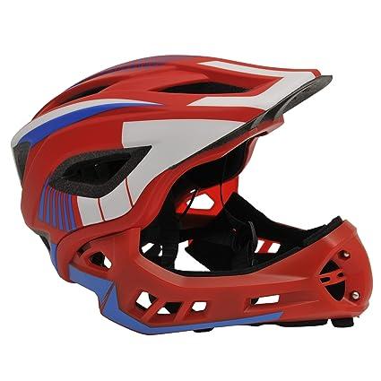 KIDDIMOTO - Casco Integral para Bicicleta, Patinete y Patinete con Protector de Barbilla Desmontable - Color Rojo, Blanco y Azul