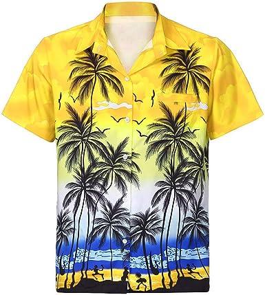 Oceninok Funky Camisa Hawaiana para Hombres, Casual Manga Corta Solapa Impresión de Hawaii de Playa: Amazon.es: Ropa y accesorios