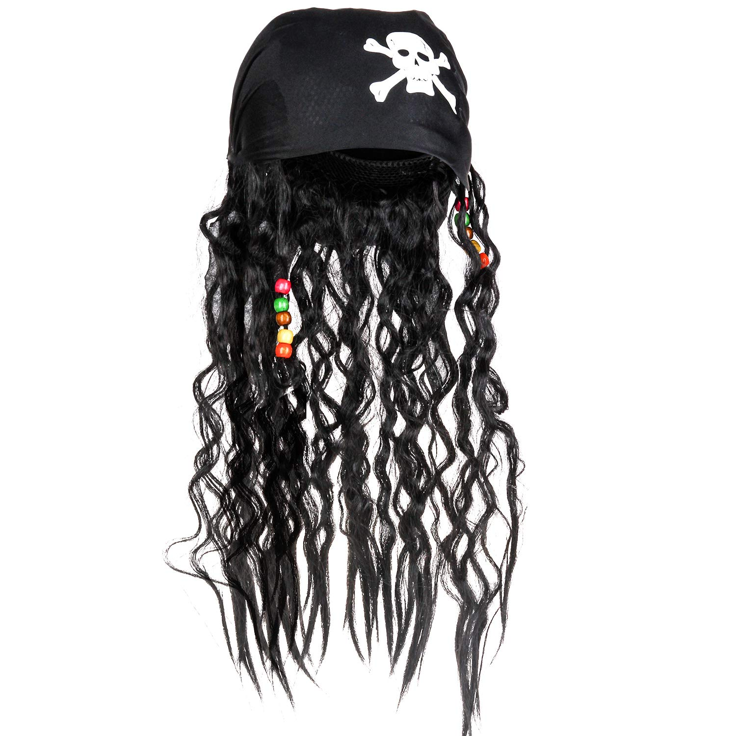 CatchStar Pirate Wig and Bandana Easy Wear Pirate Dreadlock Wig with Realistic Beaded Braids for Men Kid Halloween Costume Accessories