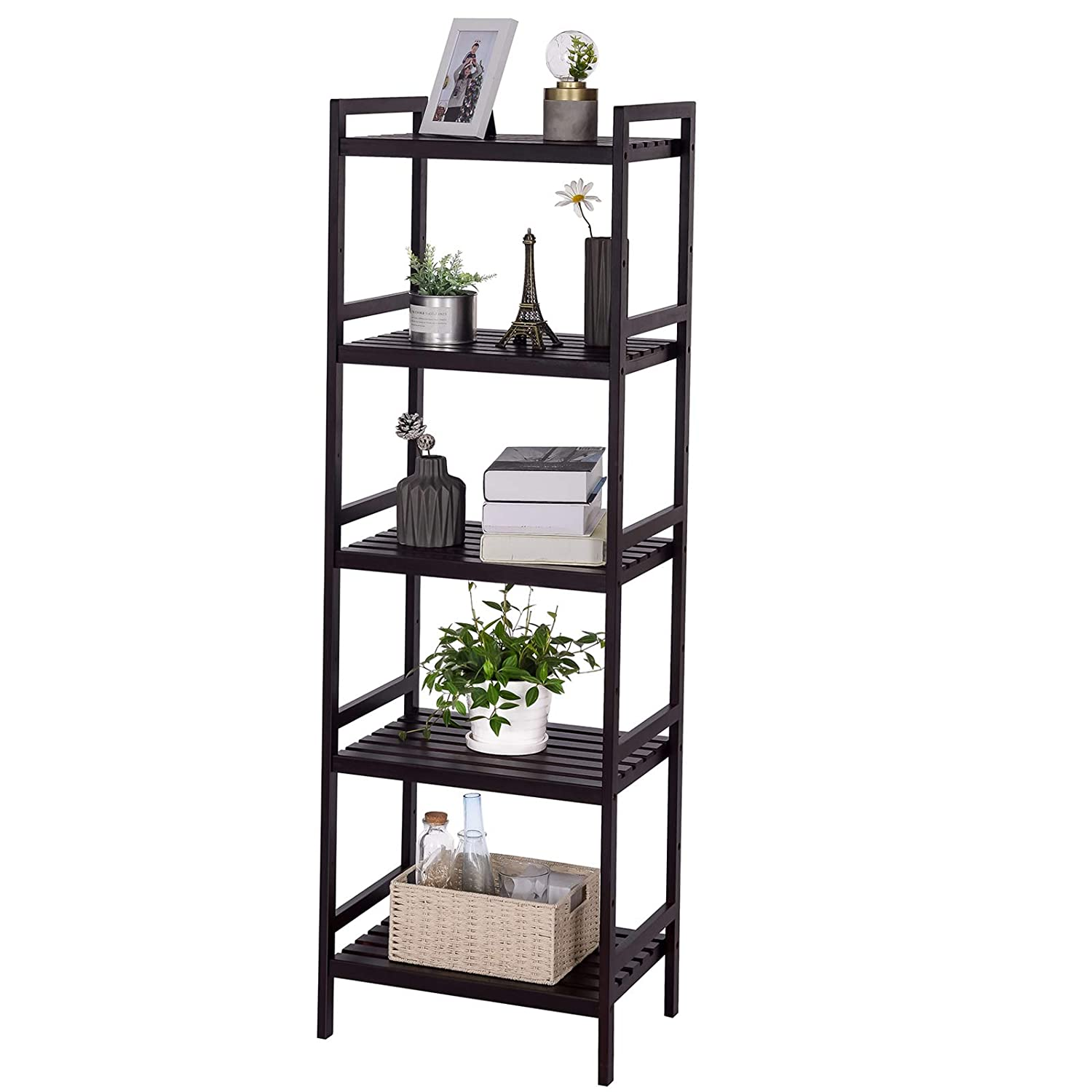 SONGMICS Multifunctional Adjustable Storage Shelf Rack,4-Tier Shelving Unit Display Stand Tower,Bookcase for Bathroom Living Room Kitchen 17.7 x 12.4 x 43.3