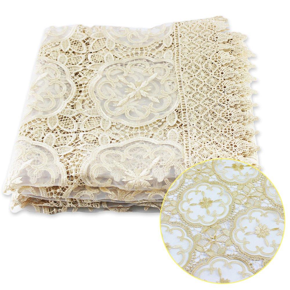 Exquisite Champagne Premium Lace Tablecloth