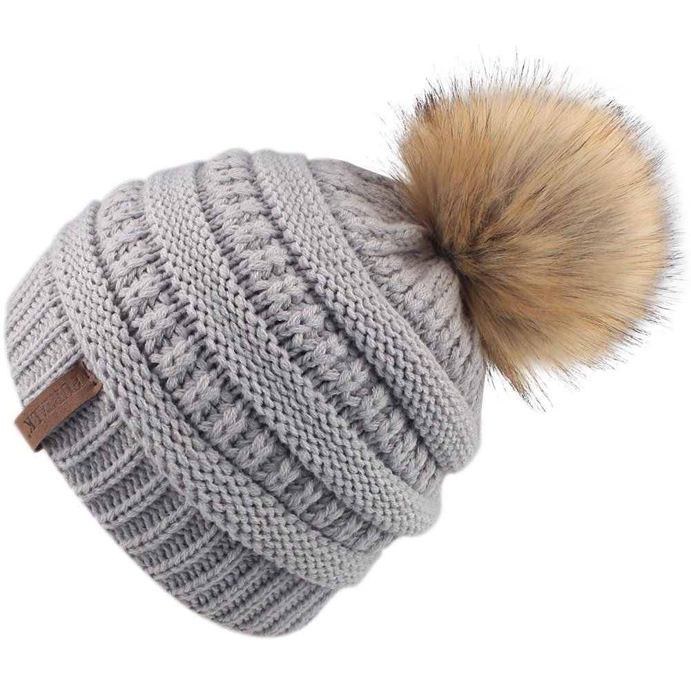 54b9174c37495f FURTALK Kids Girls Boys Winter Knit Beanie Hats Faux Fur Pom Pom Hat Bobble Ski  Cap