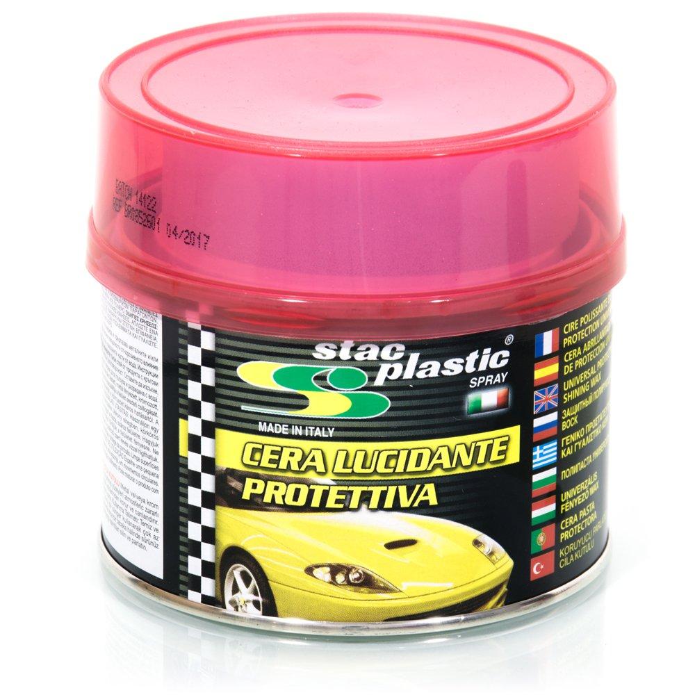 STAC PLASTIC Cera lucidante protettiva auto moto parti metalliche plastiche cromature 250g 78090001