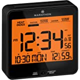 Marathon Atomic Alarm Clock with Heat and Comfort Index - Date and Indoor Temperature. Backlight, Snooze and Loud Alarm…