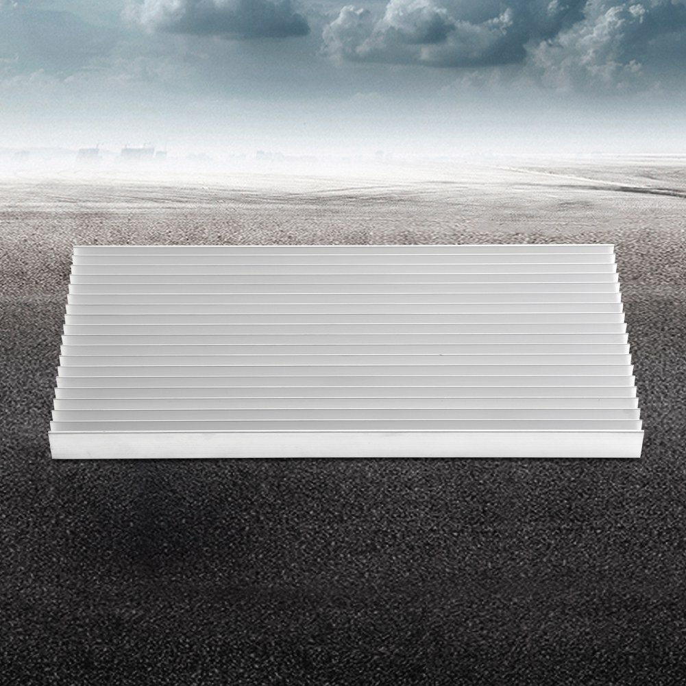 Aluminum Heat Sink Heatsink Module Cooler Fin for High Power Amplifier Transistor Semiconductor Devices with Dense 19 pcs Fins 11.8''(L) x 5.51''(W) x 0.79''(H) / 300 mm (L) x 140 mm (W) x 20 mm (H) by walfront (Image #4)