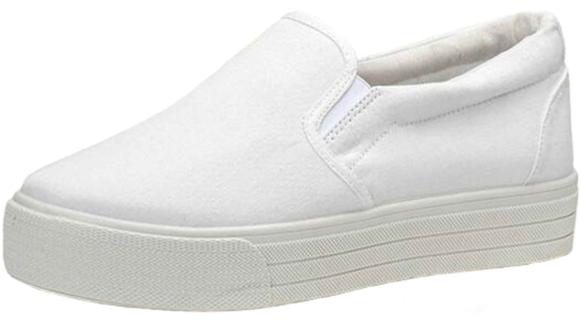 PPXID Women's High Platform Slip On Loafers Casual Canvas Student Shoes-White 7.5 US Size