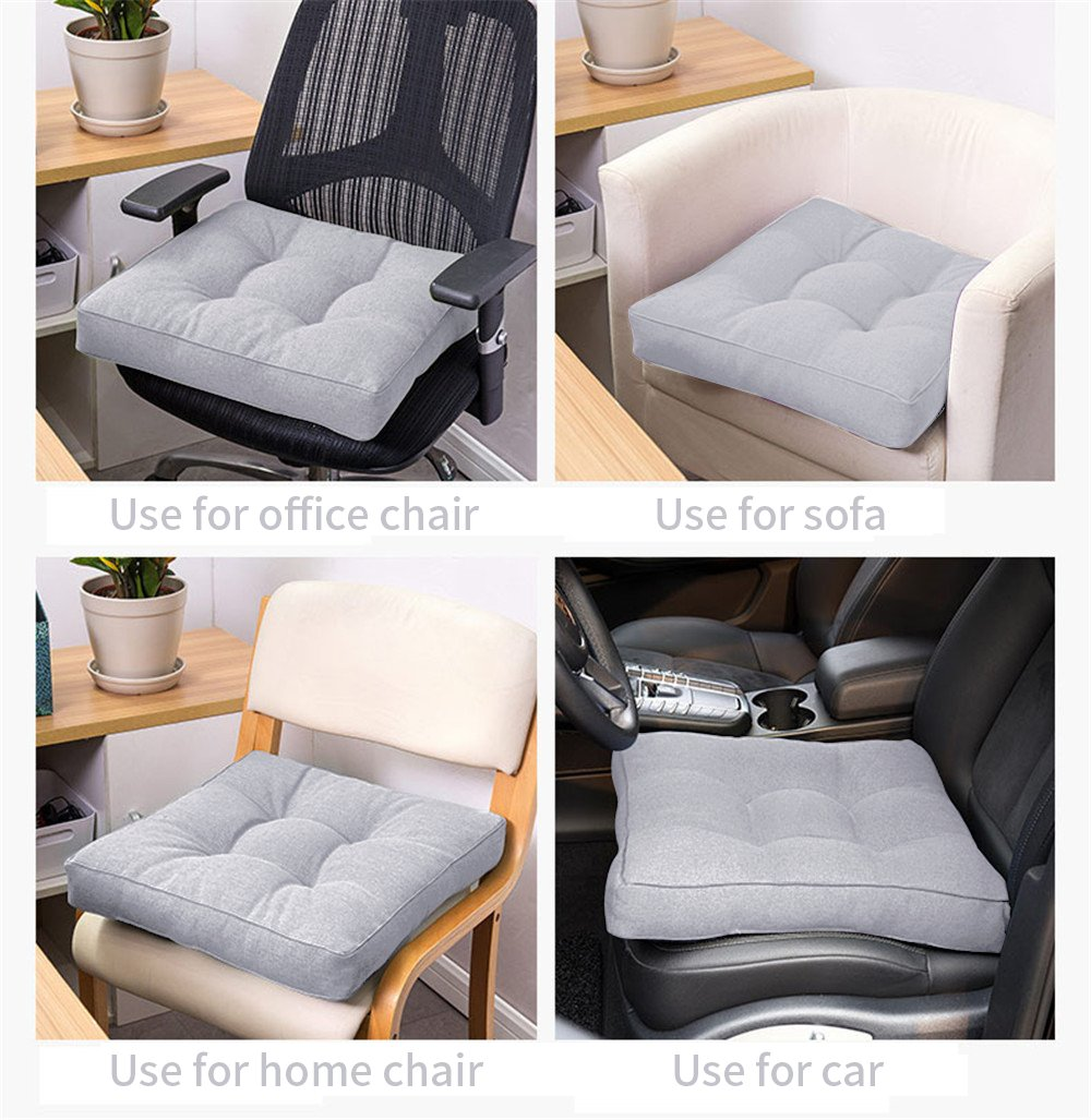 Uther Square Seat Cushion Soft Indoor Home Garden Patio Home Cushion Kitchen Office Square Cotton Buttocks Chair Pads (Light grey,45x45cm)