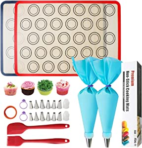 23 Pcs Silicone Macaron Cookies Baking Mats Kit Reusable Nonstick Liners for Food Safe with 2 Half Sheet Silicone Baking Mat,1Pastry Brush,1Spatula,12 Piping Tip, 1 Coupler,2 Piping Bag and 2 Bag Tie