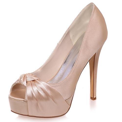 Elobaby Zapatos De Boda De Las Mujeres Tacones De Gatito Noche Peep Toe Tacones Altos/