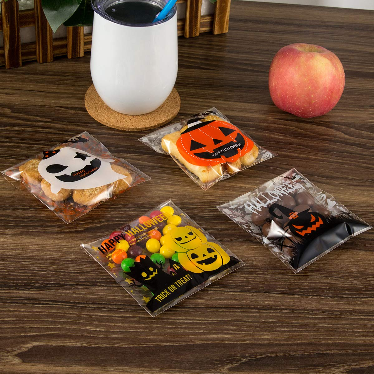 400PCS Halloween Self Adhesive Candy Bags Clear Cellophane Bags 4 Different Style Trick or Treat Bag for Cookie Bakery Biscuit Snacks Dessert Homemade Crafts by Homfshop (Image #5)