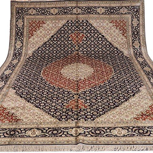 Yilong 9'x12′ Handmade Traditional Bijar Persian Silk Rug Antique Carpet Living Room Blue Red 434B9X12