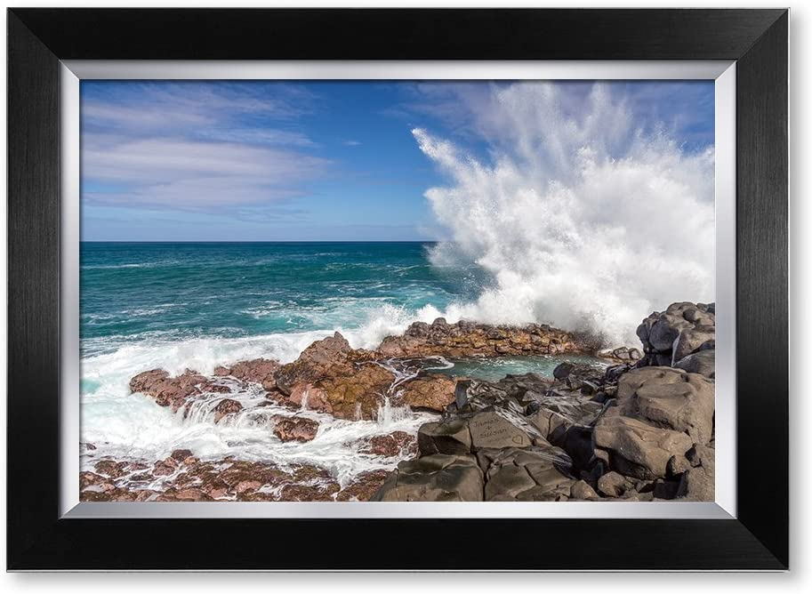 IPIC - Waves Crashing at Queen's Bath, Kauai, Hawaii. Personalized Artwork with Names and Date on, Perfect Love Gift for Anniversary,Wedding,Birthday and Holidays. Framed Size: 21x15