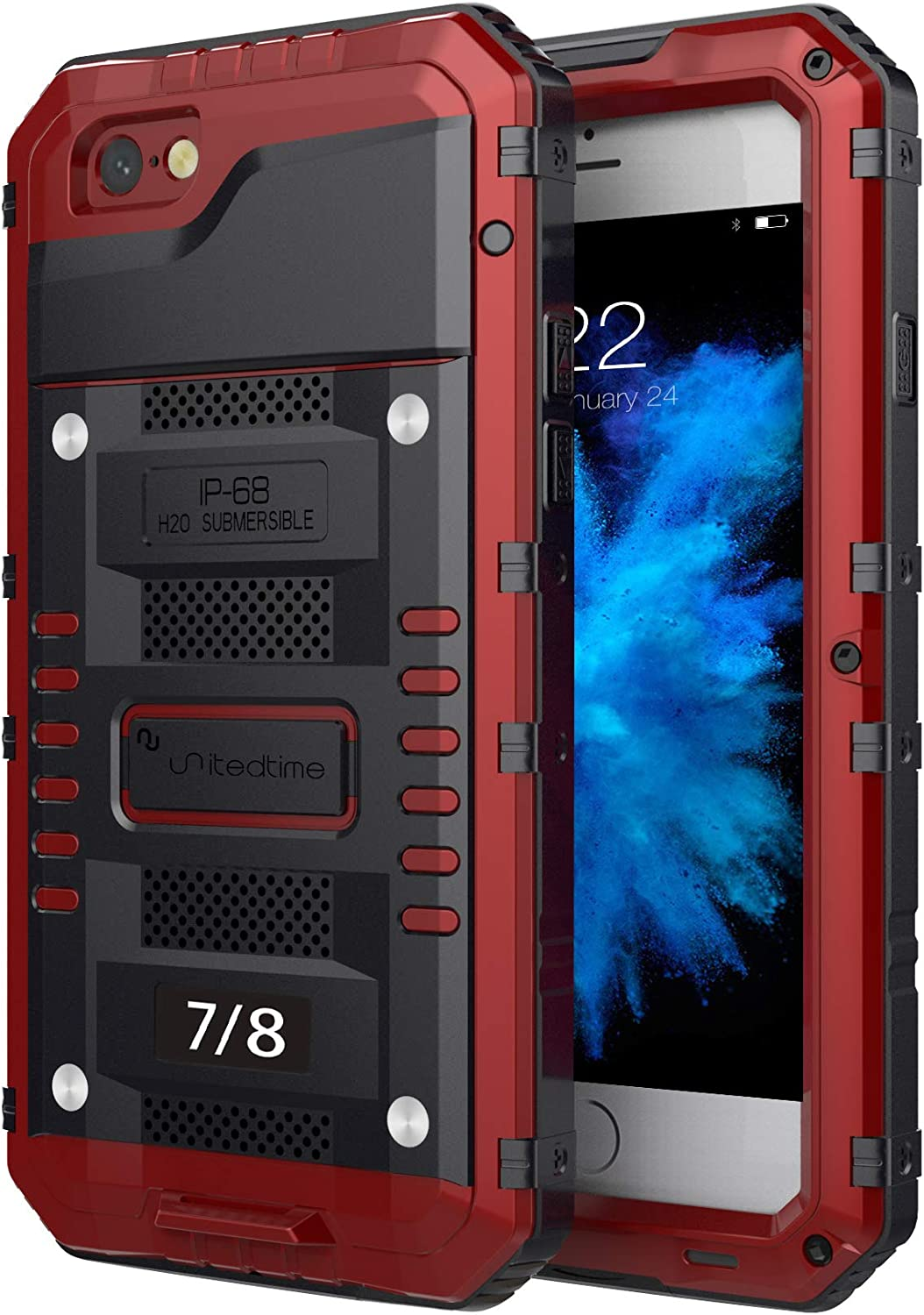 """Waterproof Heavy Duty Protective Case for iPhone 7 /iPhone 8 /SE 2020, 4.7"""" Inch with Aluminum Frame Body Rugged Hard Silicone, Military Grade with Built-in Screen Protector Drop Defend (Red)"""