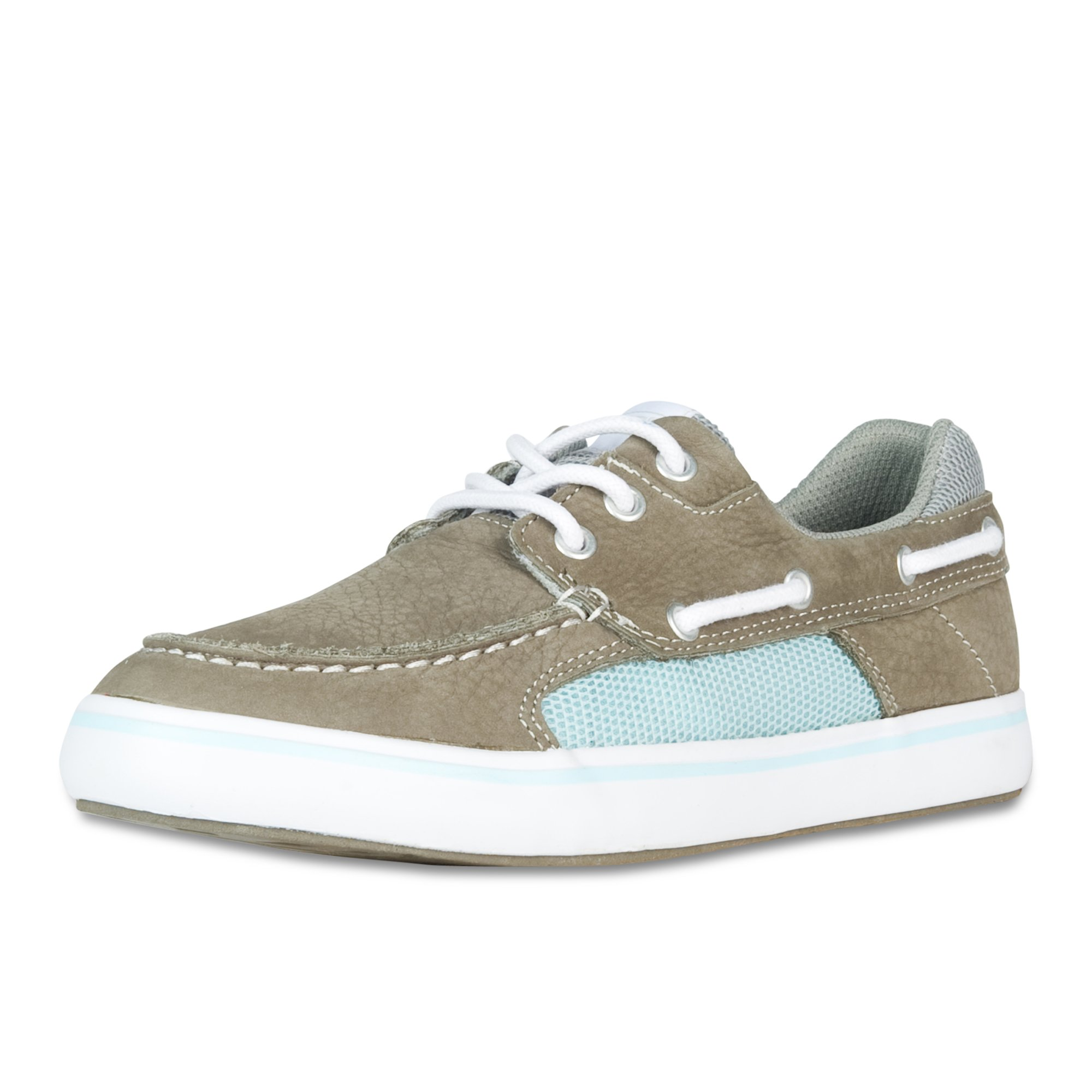 XTRATUF Finatic II Women's Leather Deck Shoes, Gray & Blue (22310)
