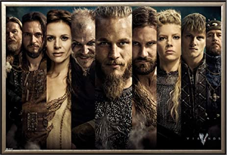 amazon com framed vikings history channel show characters 24x36