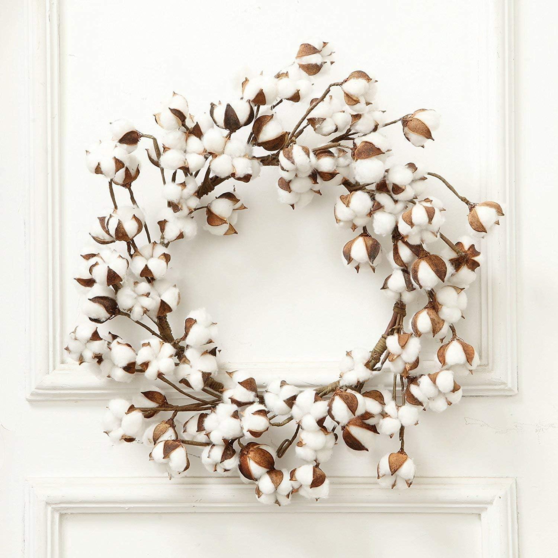 Amazon Com 24 Inch Real Cotton Wreath Farmhouse Decor Christmas Vintage Wreath Home Kitchen