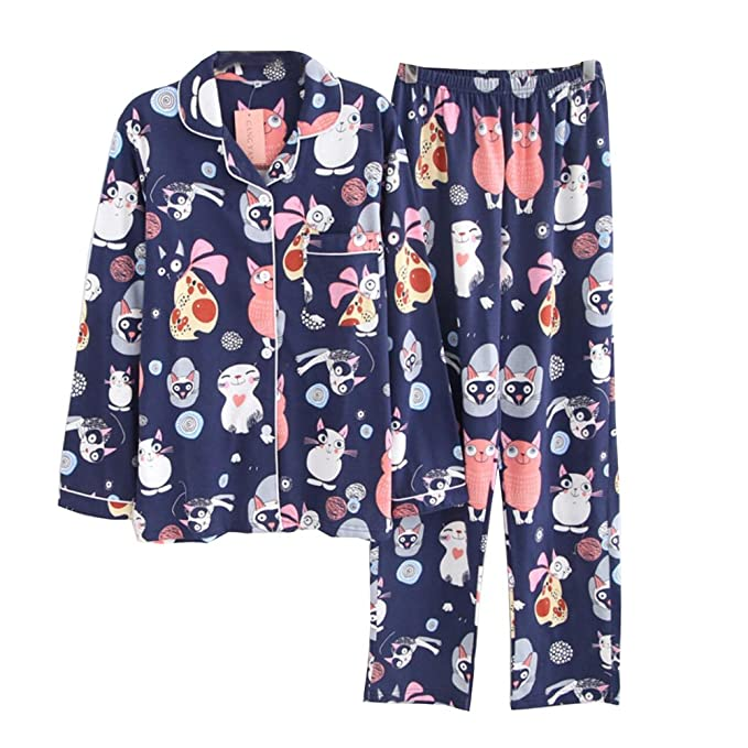 Fancy Pumpkin Vestido de algodón Estilo japonés para Mujer Kimono Pijama Traje-Gato A