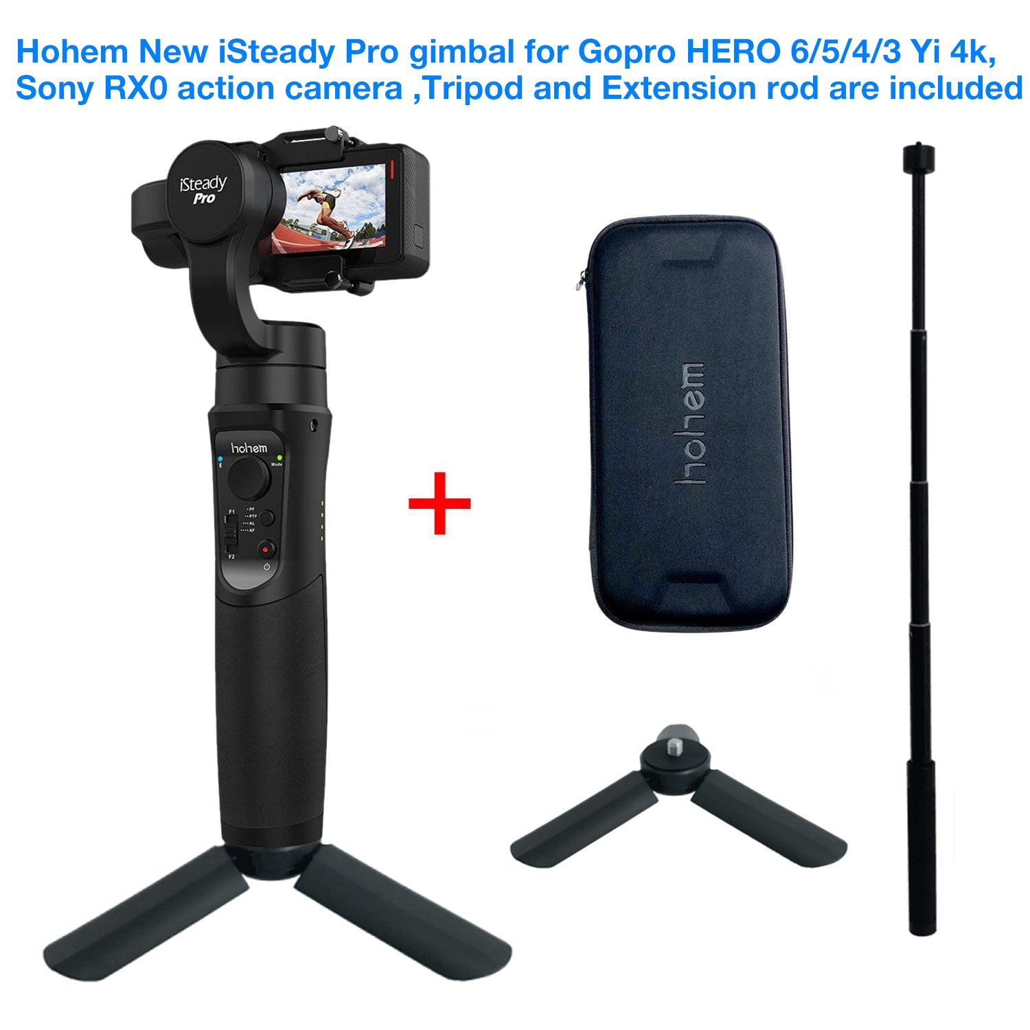 Hohem iSteady Pro 3 gimbal for Gopro Hero 6/5/4/3,SJcam, Yi 4K or similar size for Action camera,including tripod stand and extension Rod
