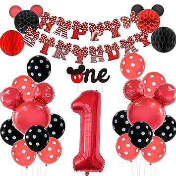 Jollyboom Decoraciones temáticas de 1er cumpleaños de Mickey ...