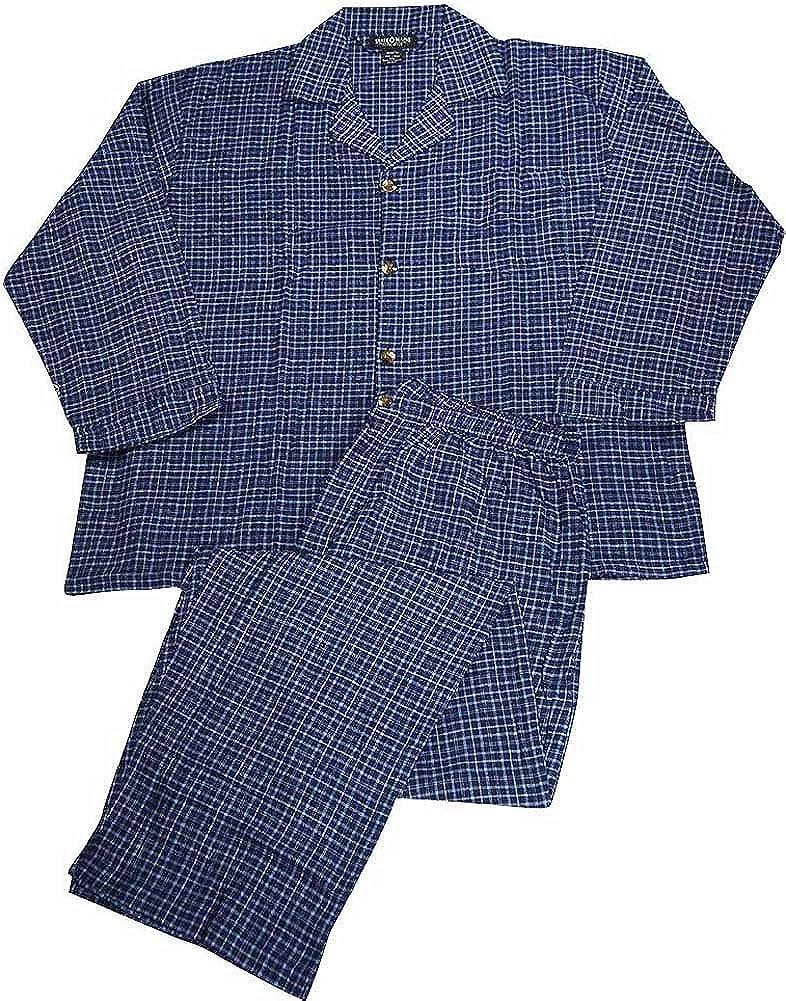 Big and Tall Mens Plaid Flannel Pajamas Navy Light Blue 37890-XXXXXX State O Maine