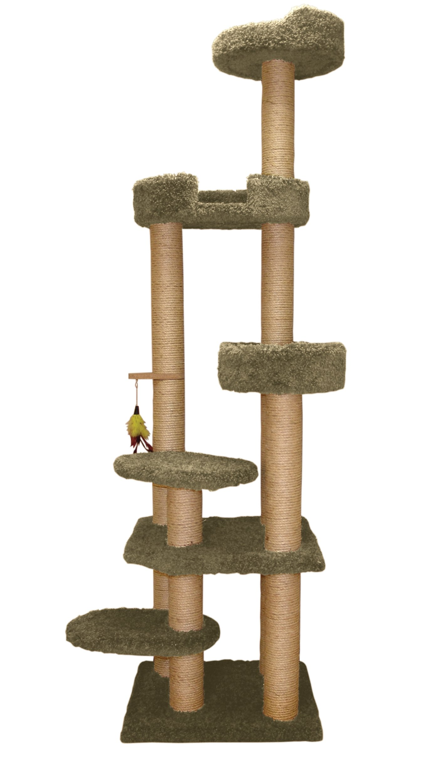 Classy Kitty 79'' Cat Tower with Sky Lounger and Lookout Sage Green 30x27x79