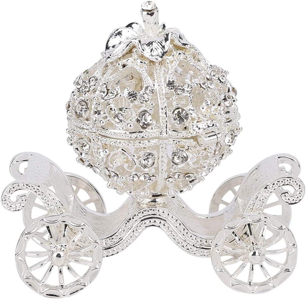 Rhinestone Crystal Pumpkin Carriage Trinket Box, Jewelry Box Diamond Gift Collectible Figurine Decorative Jewelry Display Holder Organizer
