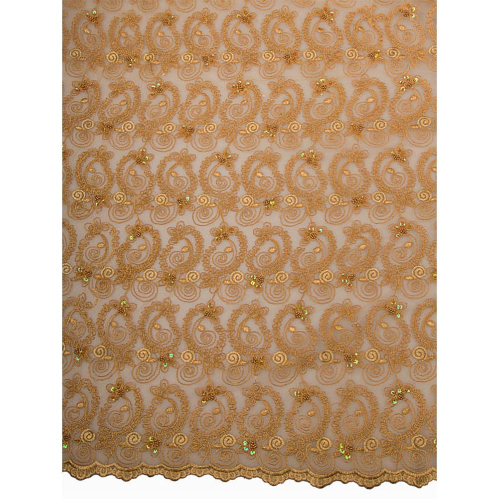 Premier Top Quality Double Organza Gold Flower Leaf 5 Yards For Party p3701_1