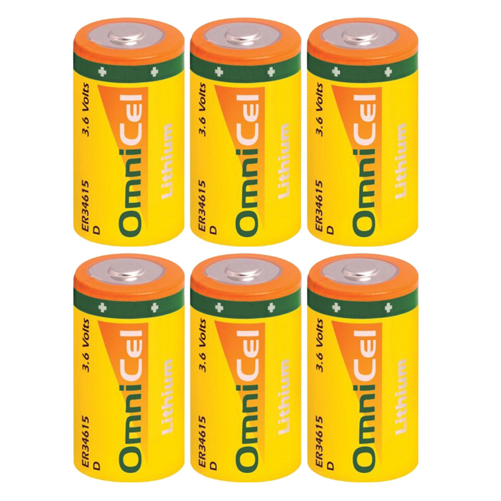 6x OmniCel ER34615 3.6 Volt 19Ah Size D Lithium Button Top Battery For Flashlights, Communications, Smart Munitions, Unattended Sensors, RFID Tracking, Asset Tracking, Theft Prevention by Exell Battery