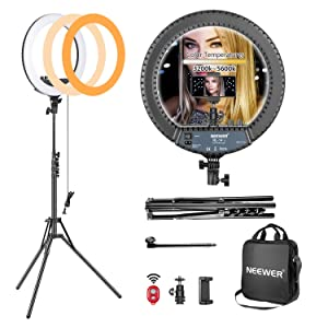 Neewer 14-inch Outer Dimmable LED Ring Light Kit Includes: 30W Bi-Color 3200k-5600K Small Ring Light, Light Stand, Soft Tube, Phone Holder, Ball Head for Make Up Photo Portrait Photography