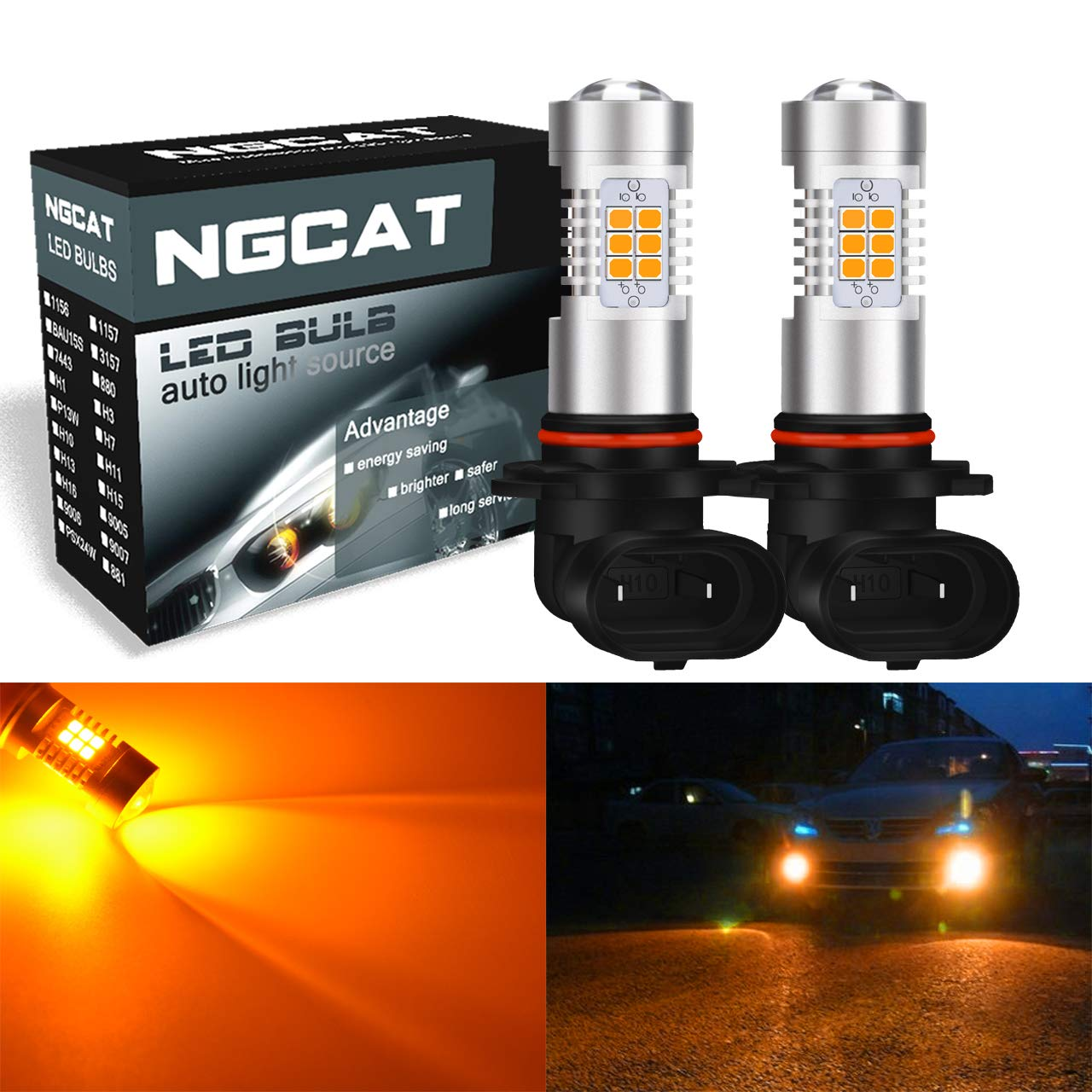 NGCAT Auto LED Bulb 2PCS P13W DRL Fog Light Replacement 2835 21 SMD Chipsets car Driving Daytime Running Lights, Amber 10-16V 10.5W