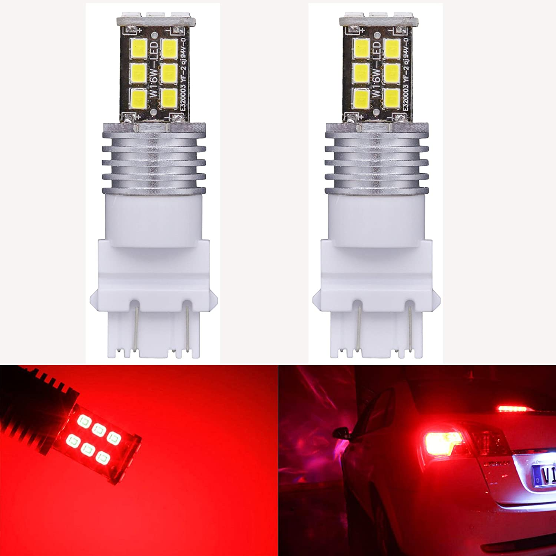 KaTur 2pcs High Power 800 Lumens Super Bright 3155 3157 3157A 3457A LED 15SMD 2835 Backup Reverse Tail Brake Lights Parking LED Blubs DC 12V Red