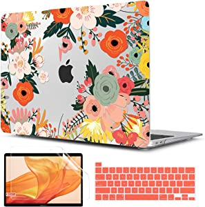 TwoL Transparent Printed Hard Shell Case with Silicone Keyboard Skin and Screen Protector Compatible 2019 2020 MacBook Pro 16 inch A2141 (Blooming Flower)