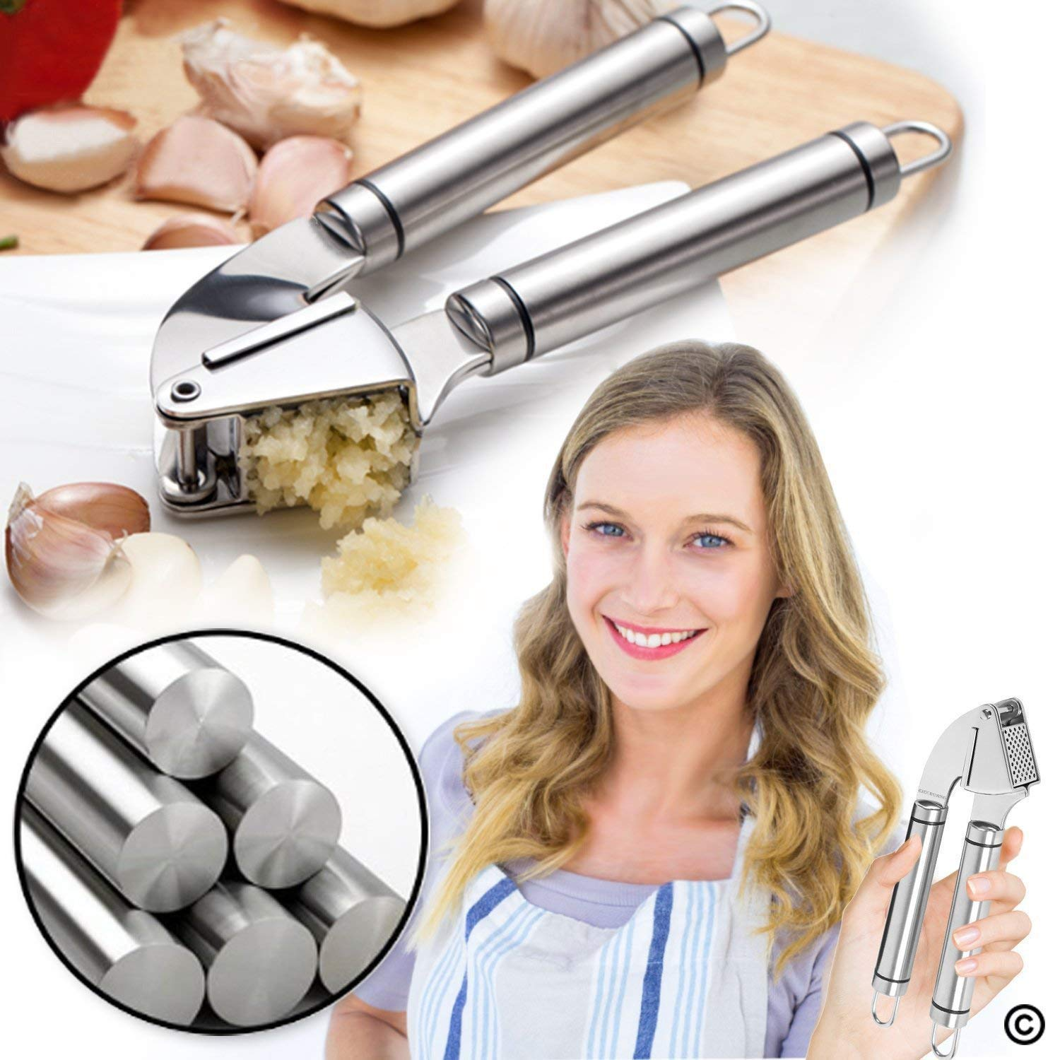 Garlic Press Heavy-Duty Stainless Steel 16 cm no peeling required!