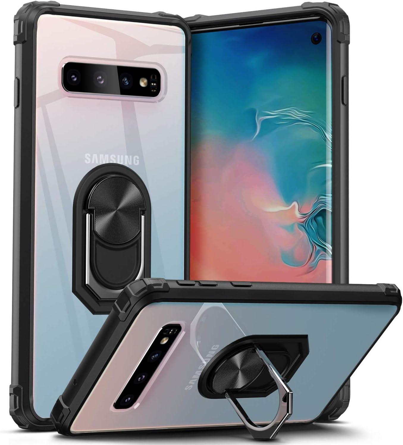 Dosnto Samsung Galaxy S10 Funda [Protección contra Caídas Reforzada] Parte Posterior Dura de PC Transparente Carcasa con 360 Grados iman Soporte Silicona Bumper Armor, Negro